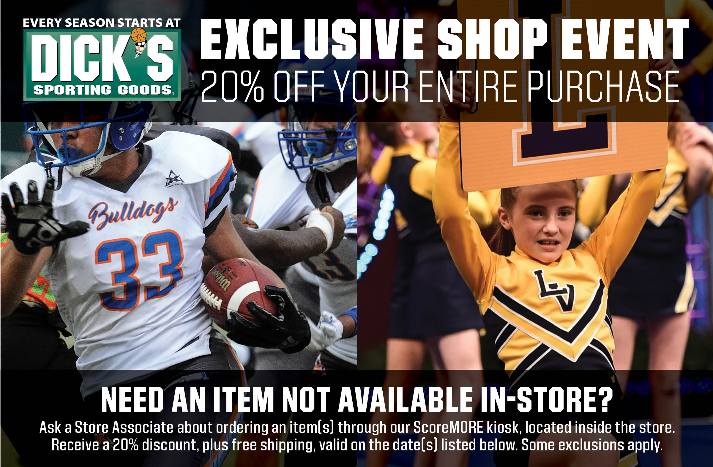 Waldorf Youth Sports- Shopping Event  20% OFF Throughout the Store!  Friday, September 10th– Monday September 13th Waldorf Location